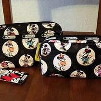Nwt Disney Lot 2  Minnie Mouse Wallet Cosmetic Case Le Sportsac Celebrate Minnie Photo