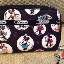 Nwt Disney Minnie Mouse Lesportsac Clutch Wallet Black White Zip Around Sold Out Photo