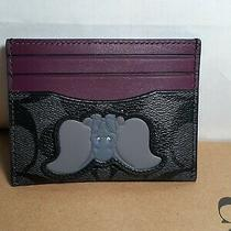 Nwt Disney X Coach 91246 Slim Card Case in Signature Canvas With Dumbo Photo