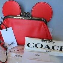 Nwt Disney X Coach Limited Edition Mickey Mouse Kisslock Wristlet Bag  Purse Red Photo
