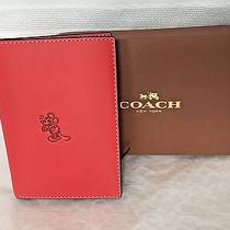Nwt Disney X Coach Mickey Limited Edition Passport Case Red Glovetanned Leather  Photo
