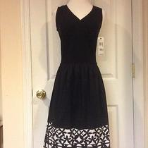 Nwt Dkny Black White Print Dress Sz 8 295 Photo