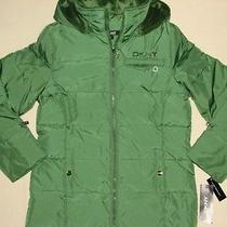Nwt Dkny Boy Green Down Water Repellent Hood Jacket Xl Photo