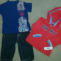 Nwt Dkny Boys 3pc Shirt-Jean-Hoodie Outfit Set Size 3-6 Months Photo