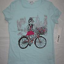 Nwt Dkny Donna Karan Girls T-Shirt Top L 10-11-12 Turquoise Silver Bicycle 22 Photo