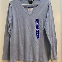 Nwt Dkny Jeans v-Neck Beaded Sweater French Blue Size Large 100% Cotton Photo