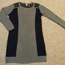 Nwt Dkny Jeans Women's Gray/navy With Mesh Sweater Dress Size Xl Photo