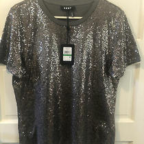 Nwt Dkny Sequined Short Sleeve Gray T-Shirt. City Bloom. Size Large. Msrp 69 Photo