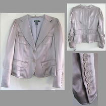 Nwt Dkny Silk Satin Blazer 10 325 Blush Gold Romantic Jacket Formal M Brown  Photo