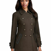 Nwt Dkny Size 4 Double-Breasted Wool-Blend Military Green Pea Coat Retail 280 Photo