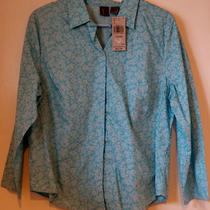 Nwt Dockers Women's Shirt Size L Large Blouse Top Blue Aqua Flowers Button-Up Photo