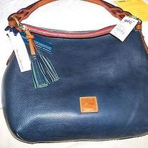 Nwt Dooney  and  Bourke Florentine Leather Twist Strap Hobo Bag... Navy Blue Photo