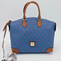 Nwt Dooney & Bourke Blue Red Printed Logo Gretta Satchel Convertible Bag Purse Photo