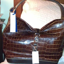 Nwt Dooney & Bourke Croco Emboss Leather Logo Lock Hobo Bag W/accessries-Cognac Photo