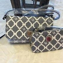 Nwt Dooney & Bourke Grey Sanibel Crossbody Handbag  Wristlet W/key Ring Leather Photo