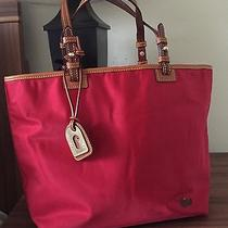 Nwt Dooney & Bourke Nylon Lee Tote- Red With Khaki Trim & Pink Interior Fw641rd Photo