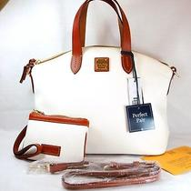 Nwt Dooney & Bourke White Leather Satchel & Med Wristlet Perfect Pair Photo