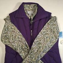 Nwt Down Vest Puffer Sm & Liz Claiborne Blouse With Pearl Snap Paisley Purple 10 Photo