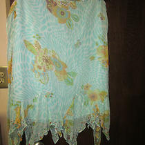 Nwt Eci New York Aqua Blue Floral Silk Skirt Size 10 Beads at Hem Super Cute Photo
