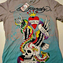 Nwt Ed Hardy Christian Audigier Wearable Art T-Shirt New York City Rhinestone Xl Photo