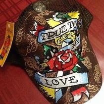 Nwt Ed Hardy Vintage Tatoo Wear True to My Love Studded Adjustable Hat Photo