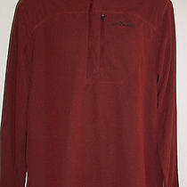 Nwt Eddie Bauer Grid Fleece Shirt Burgundy Red Versatrex Quarter-Zip Men's Tl Photo