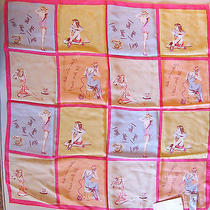 Nwt Eilaine Gold Silk Scarf Retro Rockabilly Pinup Pink Blush Orange Benefit Sty Photo