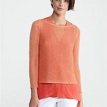 Nwt Eileen Fisher 1x Papaya Ballet Neck Box-Top in Linen Mini-Tape Sweater Sp 14 Photo