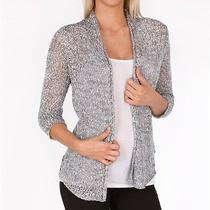 Nwt Eileen Fisher 248 L Smoke Tinted Cotton Tape Nubble Shaped Cardigan Sweater Photo
