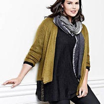 Nwt Eileen Fisher Dip Dyed Wool Scramble Wrap Scarf Ash Gray & Silver 84