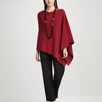 Nwt Eileen Fisher Fine Merino Wool Links Poncho China Red One Size Photo