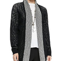 Nwt Eileen Fisher Graphic Organic Cotton Nubble Shawl Collar Long Cardigan Sz. L Photo