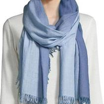 Nwt Eileen Fisher Wool Silk Cashmere Ombre Wrap Scarf Periwinkle Blue 84