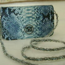 Nwt-Elegant Badgely Mischka Blue Python-Look Clutch Convert to Shoulder Purse Photo