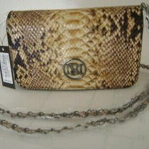 Nwt-Elegant Badgely Mischka  Brown Python Look Clutch Convertible Shoulder Purse Photo