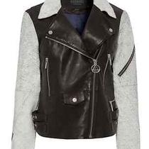 Nwt Elevenparis Fixie Lamb Black White Crackle Leather Biker Jacket 36 (Xs 0 2) Photo