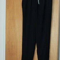 Nwt Elie Tahari Black Slinky Polyester Pants Size S Zip-Bottom Cuffs Orig 64 Photo
