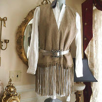 Nwt Elie Tahari Suede Finge With Ribbon Suede Details This Is the Runway Line Photo