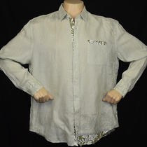 Nwt Elie Tahari Zac Linen Hawaiian Khaki Casual Shirt Sz Xxl Photo