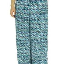Nwt Ellen Tracy Navy Blue Multi Printed Drawstring Palazzo Pants L 79 Photo