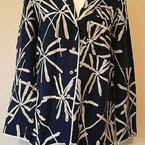 Nwt Eloise Anthropologie Blue Motif Button Front Silk Pajama Top Xs Photo