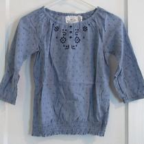 Nwt Embroidered Blue Chambray Blouse by h&m Girl's Size 9-10y (1439) Photo