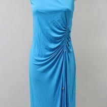 Nwt Emilio Pucci Aqua Blue Sleeveless Ruched Drawstring Dress Size It. 44 Photo