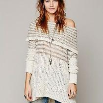 Nwt Engineered Stripe Cowlneck Chunky Sweater Free People Ivory S Off-Shoulder Photo