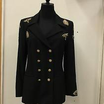 Nwt Escada Couture Black Wool Suit Blazer Butterfly Bee Dragonfly Sz 38 Us Sz 8 Photo