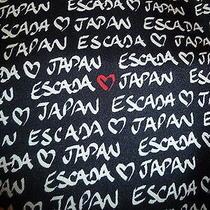 Nwt Escada Made in Italy Designer Silk Scarf Blackwhite/red Prints S 34