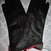 Nwt Etienne Aigner Size L Black Leather Touch Screen Technology Gloves Photo
