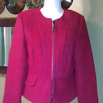 Nwt Express 148 Red Lacquer Short Seamed Peplum Jacket Medium Great Deal Photo