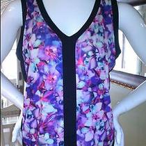 Nwt Express 40 Floral Print Double v-Neck Wedge Tank Beautiful Spring Photo