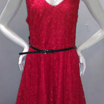 Nwt Express 88 Double v-Neck Fit and Flare Lace Dress Firecracker Red 8 Htf Photo